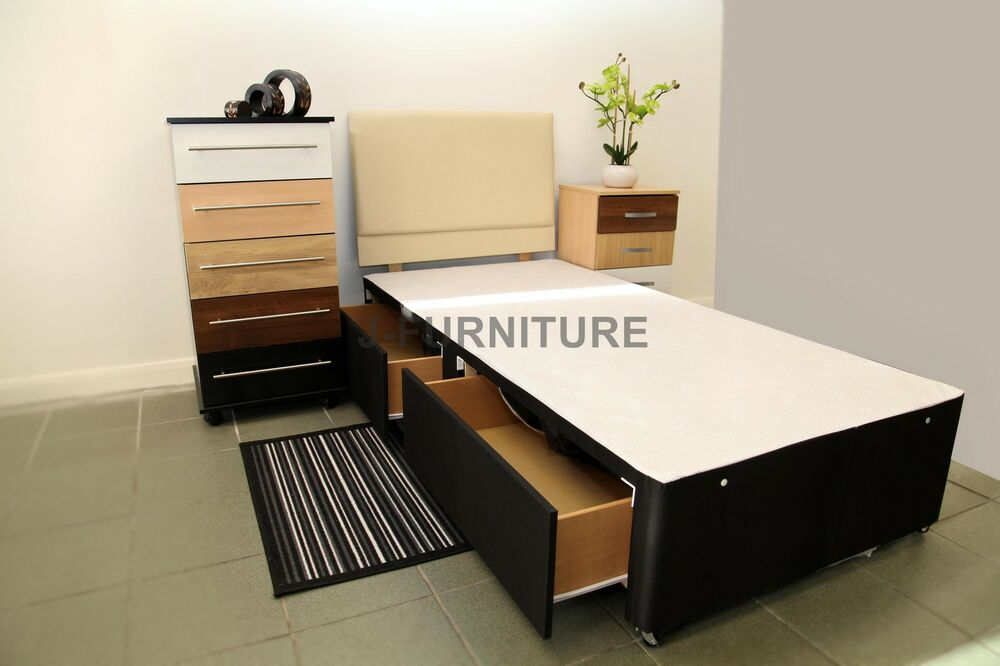 2ft6 3ft divan bed base black white cream storage drawers for Single divan with drawers and headboard