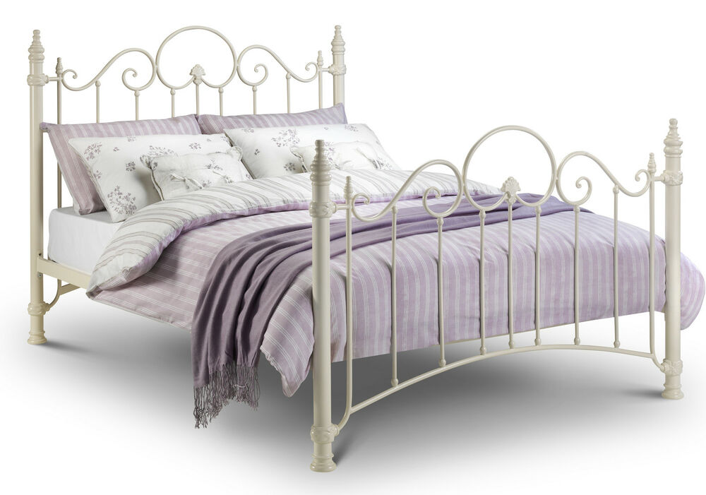 florence metal bed frame in cream single double kingsize ebay