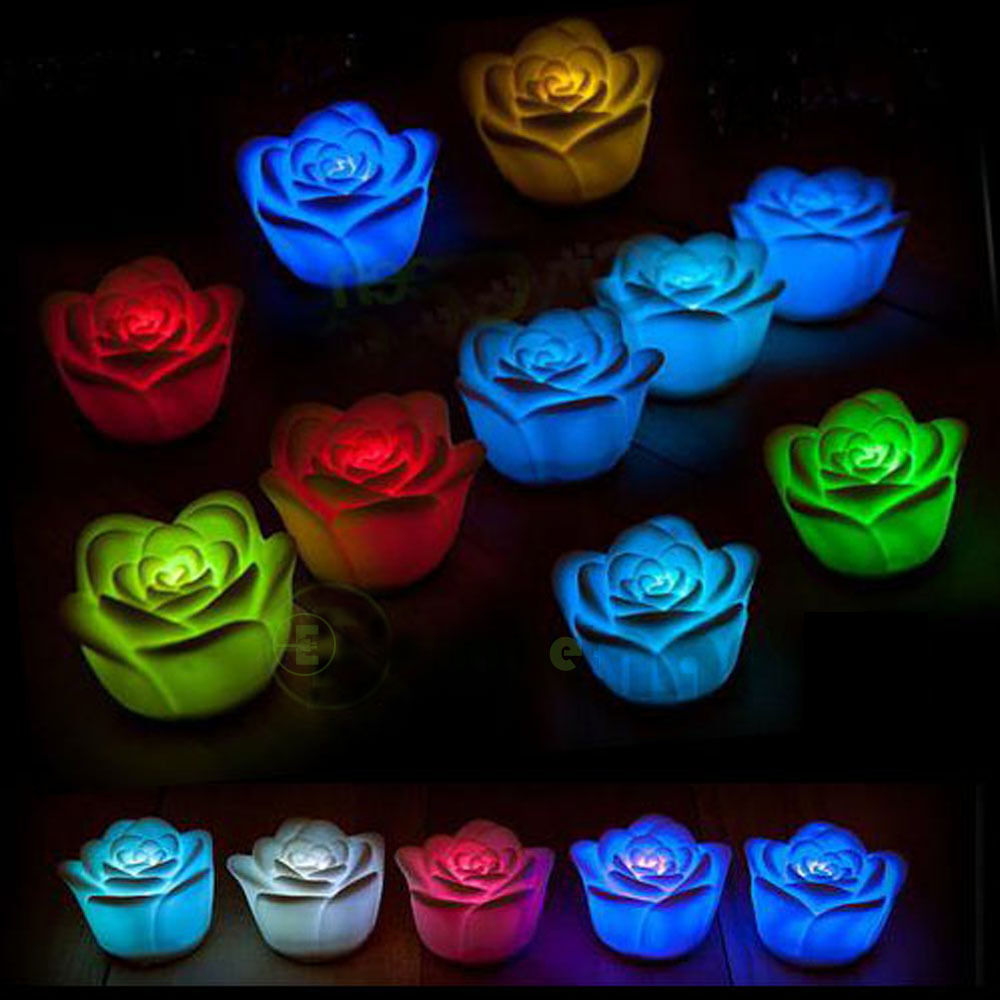 New Bright Night Lights Electronic LED 7 Color Changing Roses Folower Novelty : eBay