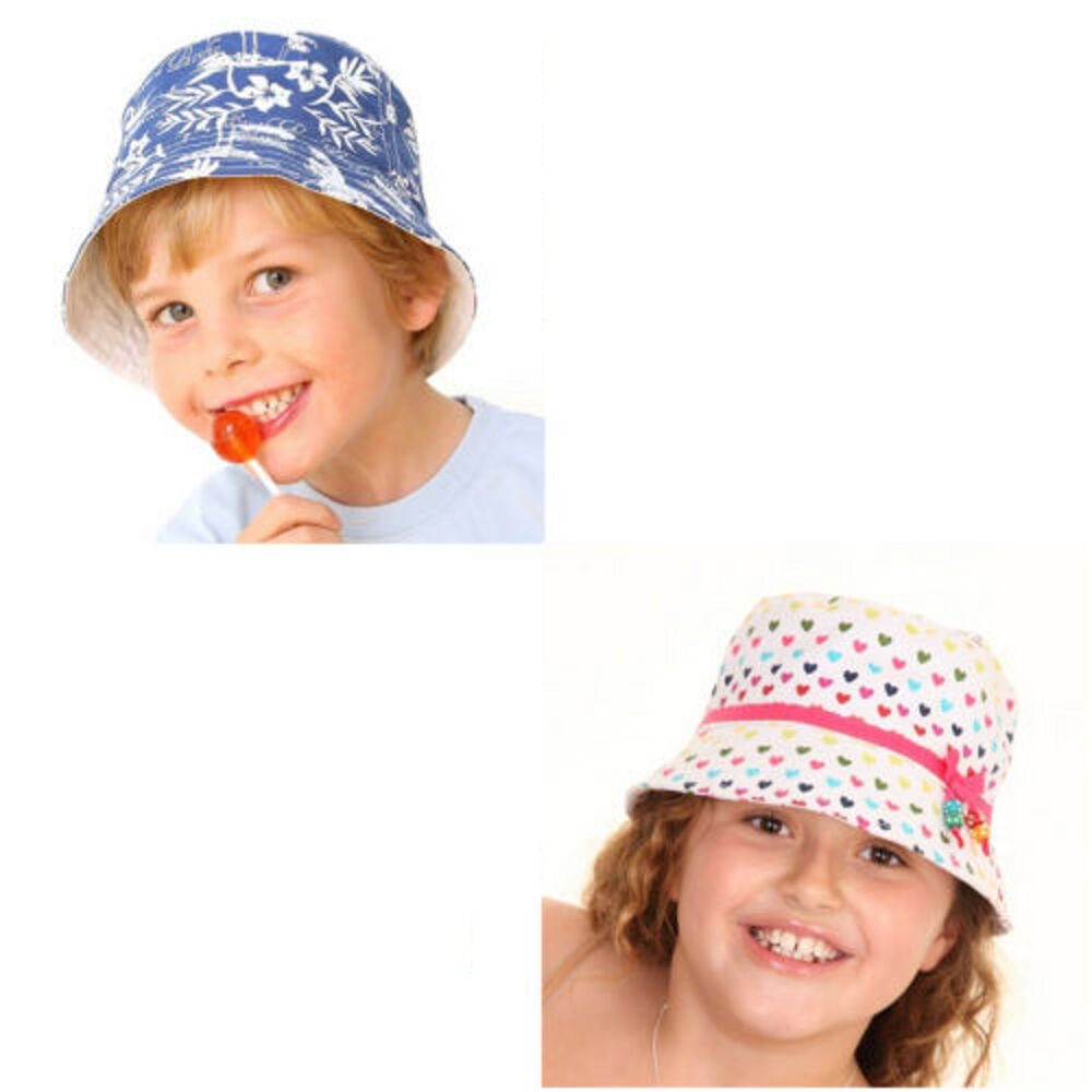 2454e010205 Details about Boys Girls Beach Hat Bucket Bush Summer Sun Bright Cap Kids 3  to 6 Years Cotton