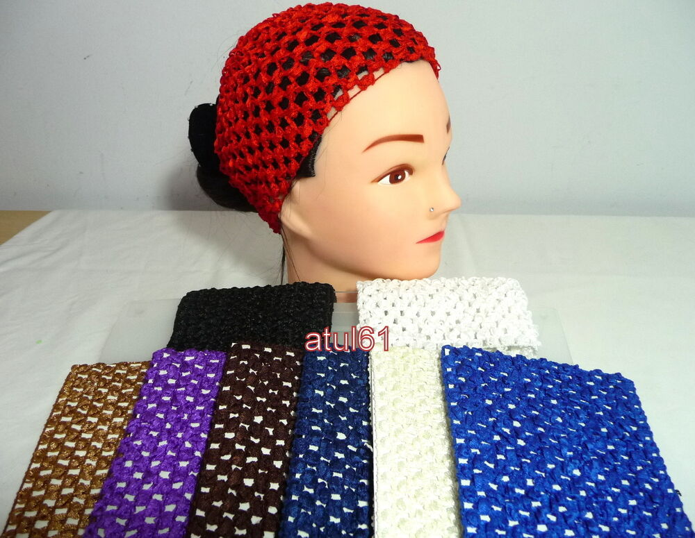 Crocheting Over A Hair Band : WIDE CROCHET HEADBAND HEADWRAP HAIRBAND HIJAB UNDER SCARF ELASTIC LACE ...