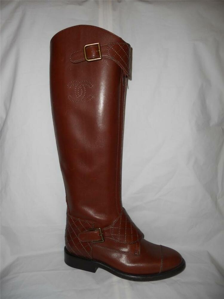 chanel brown leather polo buckled knee high