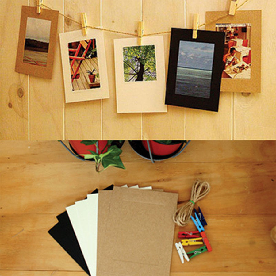 Hanging photo decoration kit 7 photo clip paper frame w for Picture frame with clips diy