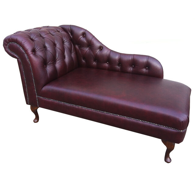 60 deep buttoned oxblood leather chaise longue chesterfield ebay. Black Bedroom Furniture Sets. Home Design Ideas