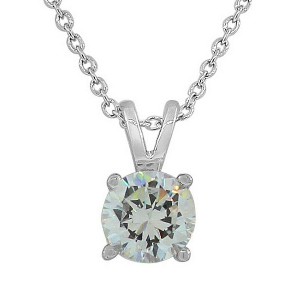 Sterling Silver Solitaire Clear Gem Stone White Crystal Cz