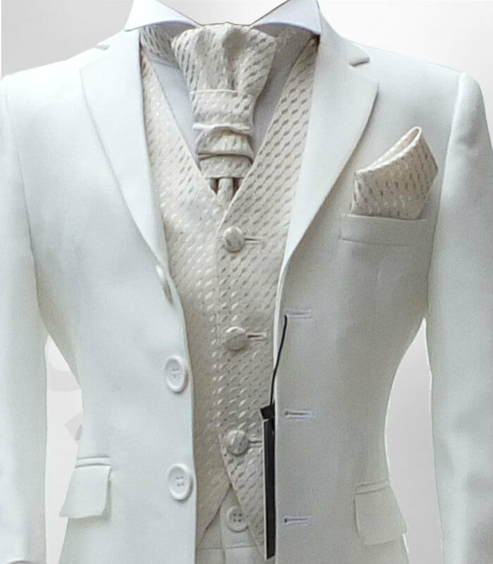 BOYS FORMAL MAT WHITE CREAM IVORY CRAVAT WEDDING SUITS | eBay
