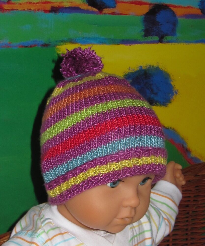 Pom Pom Beanie Knitting Pattern : PRINTED INSTRUCTIONS - BABY STRIPE BOBBLE BEANIE POM POM HAT KNITTING PATTERN...