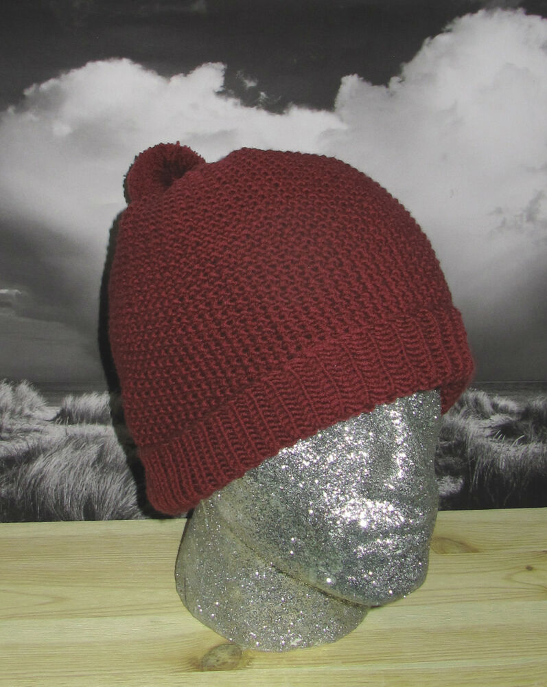 Pom Pom Beanie Knitting Pattern : PRINTED INSTRUCTIONS -MOSS STITCH BOBBLE BEANIE POM-POM HAT KNITTING PATTERN ...