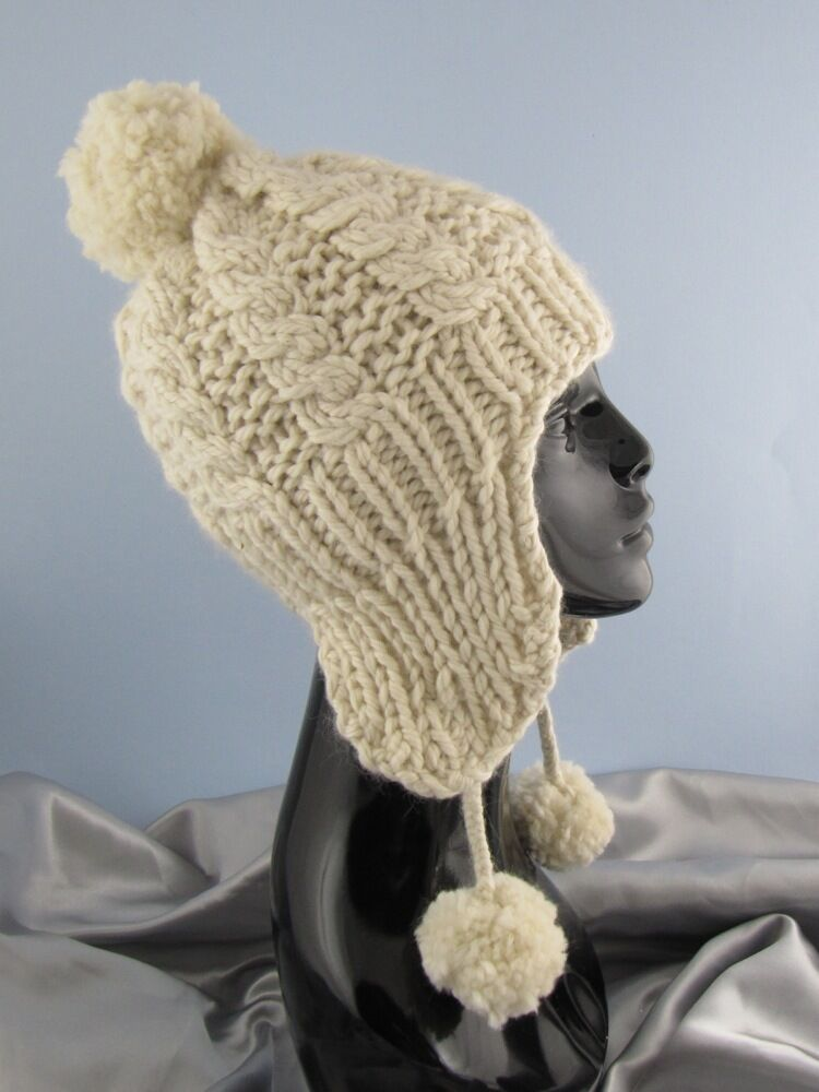 Knit And Purl Pattern : PRINTED INSTRUCTIONS -BIG BOBBLE EASY CABLE TRAPPER HAT KNITTING PATTERN eBay