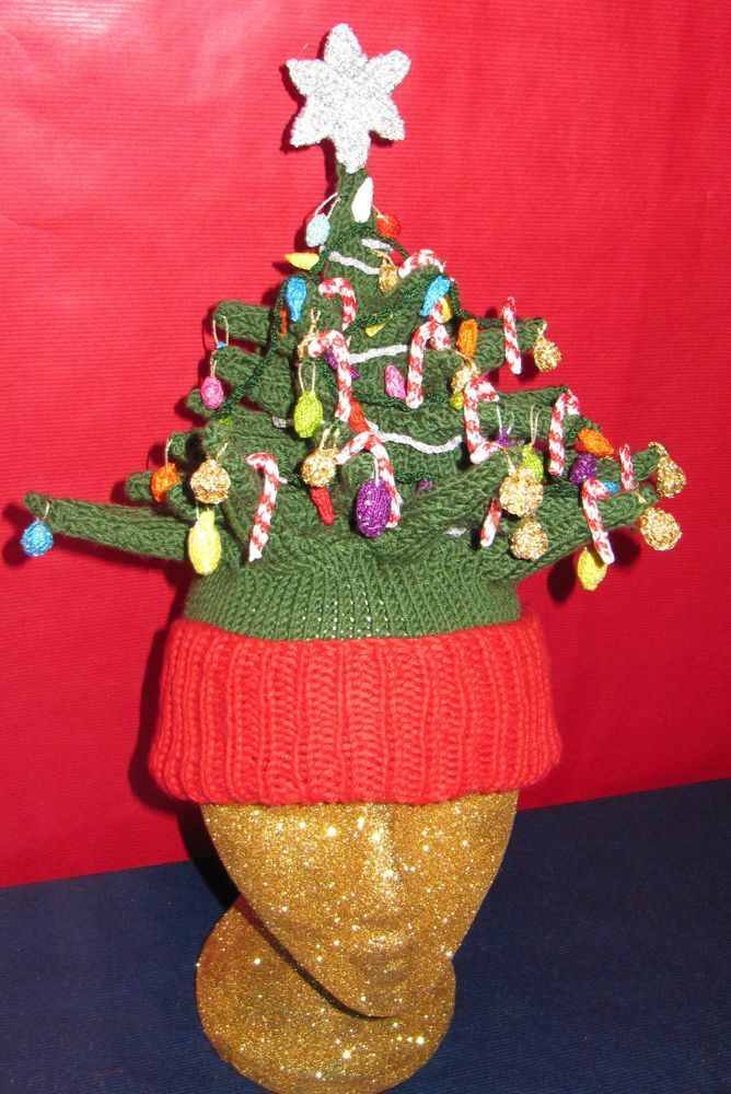 Knitted Christmas Tree Hat Pattern : PRINTED INSTRUCTIONS- CHRISTMAS TREE BEANIE HAT KNITTING PATTERN-MADMONKEYKNI...