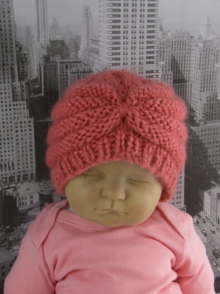 Knitting Pattern Chunky Baby Hat : PRINTED INSTRUCTIONS- BABY CHUNKY BEEHIVE TURBAN BEANIE HAT KNITTING PATTERN ...