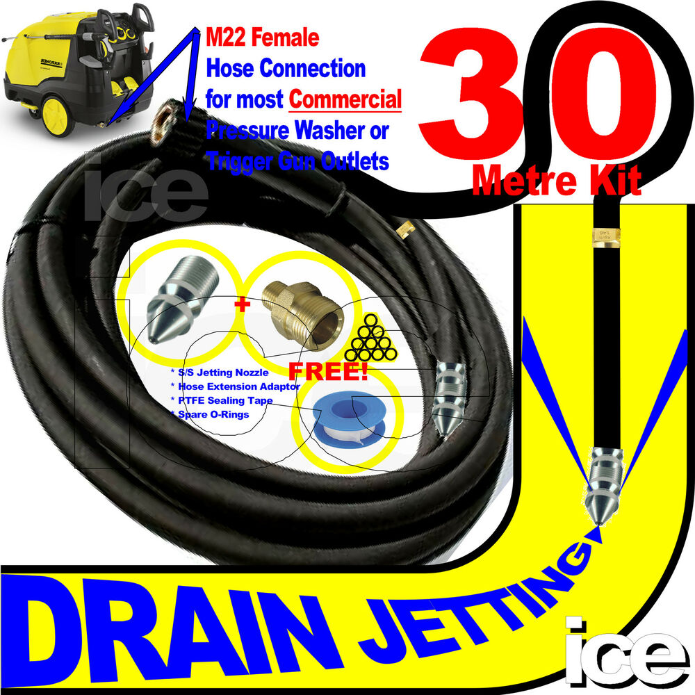 30m Pressure Washer Blocked Drain Sewer Cleaning Flushing