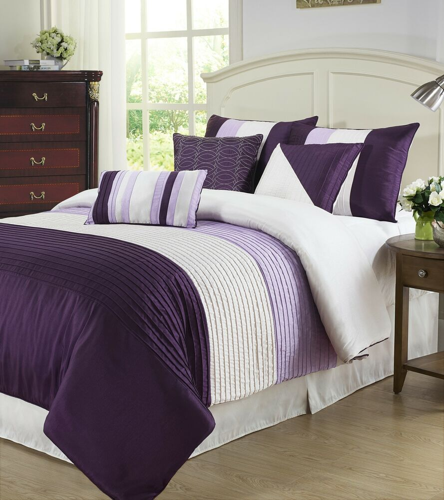 Tayler 7pc Comforter Set Faux Silk Texture W Pleats