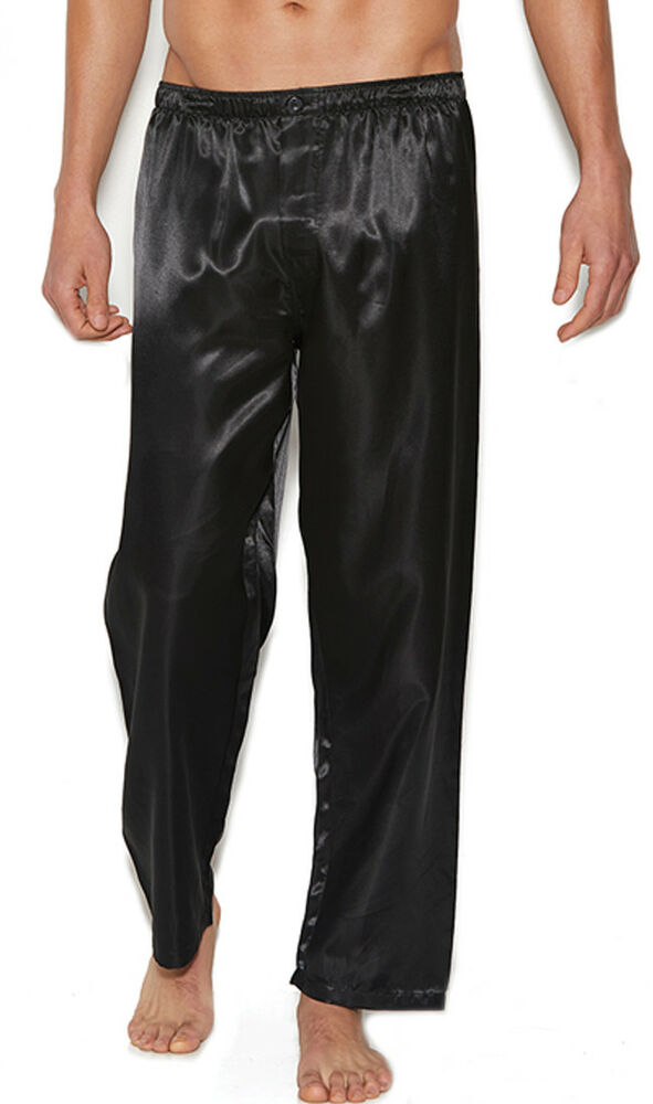 Black Silk Pajamas: Black Charmeuse Satin Unisex Lounge Sleep Pajama Pants Men