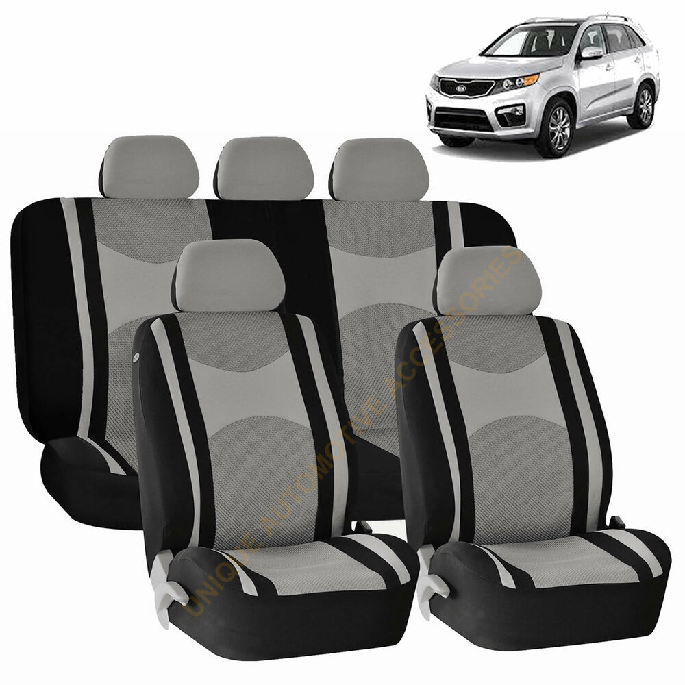 GRAY AIRBAG Amp SPLIT Bench SEAT COVERS 9pc SET For KIA
