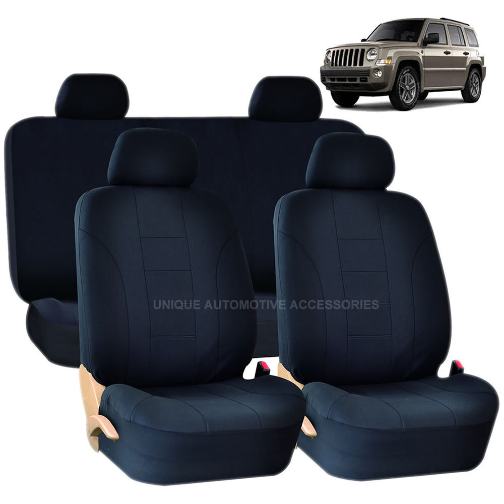 solid black double stitch seat covers 8pc set for jeep. Black Bedroom Furniture Sets. Home Design Ideas