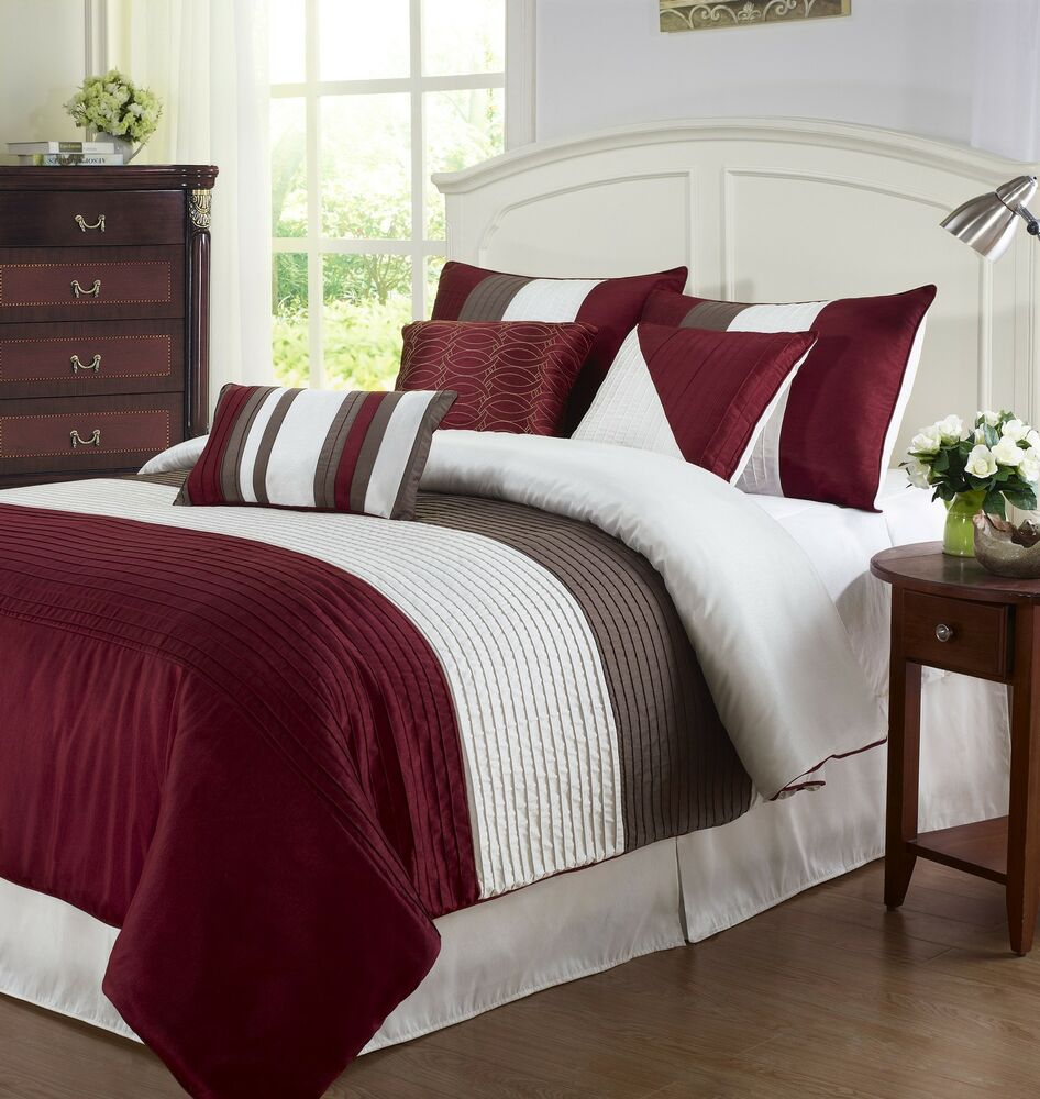 Tayler 7pc Comforter Set Faux Silk W Pleats Red Burgundy