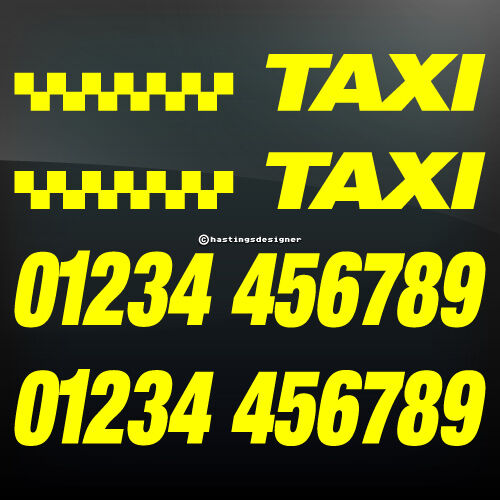 custom taxi number phone economy car advertising vinyl. Black Bedroom Furniture Sets. Home Design Ideas