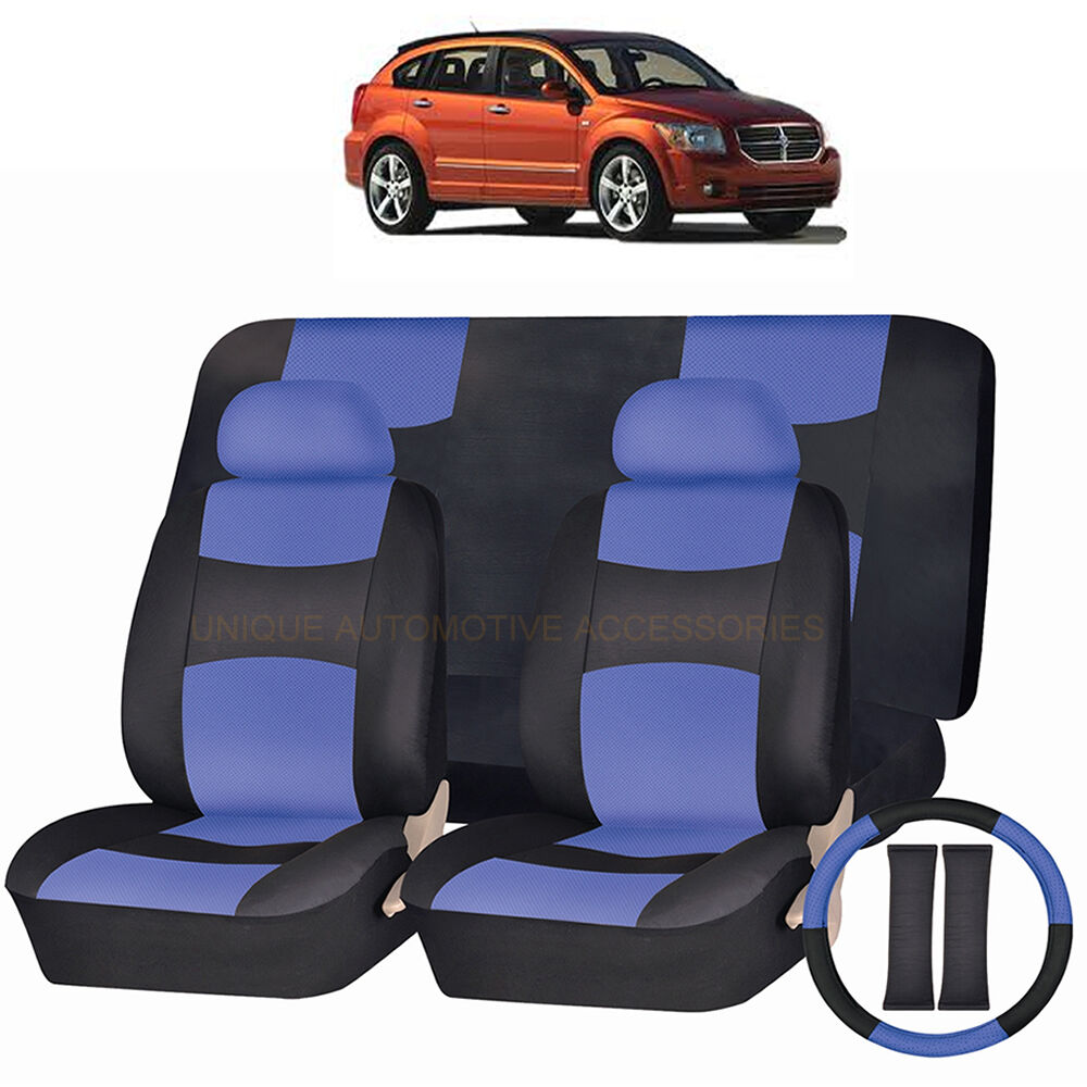 pu leather blue black seat covers 11pc set for dodge. Black Bedroom Furniture Sets. Home Design Ideas