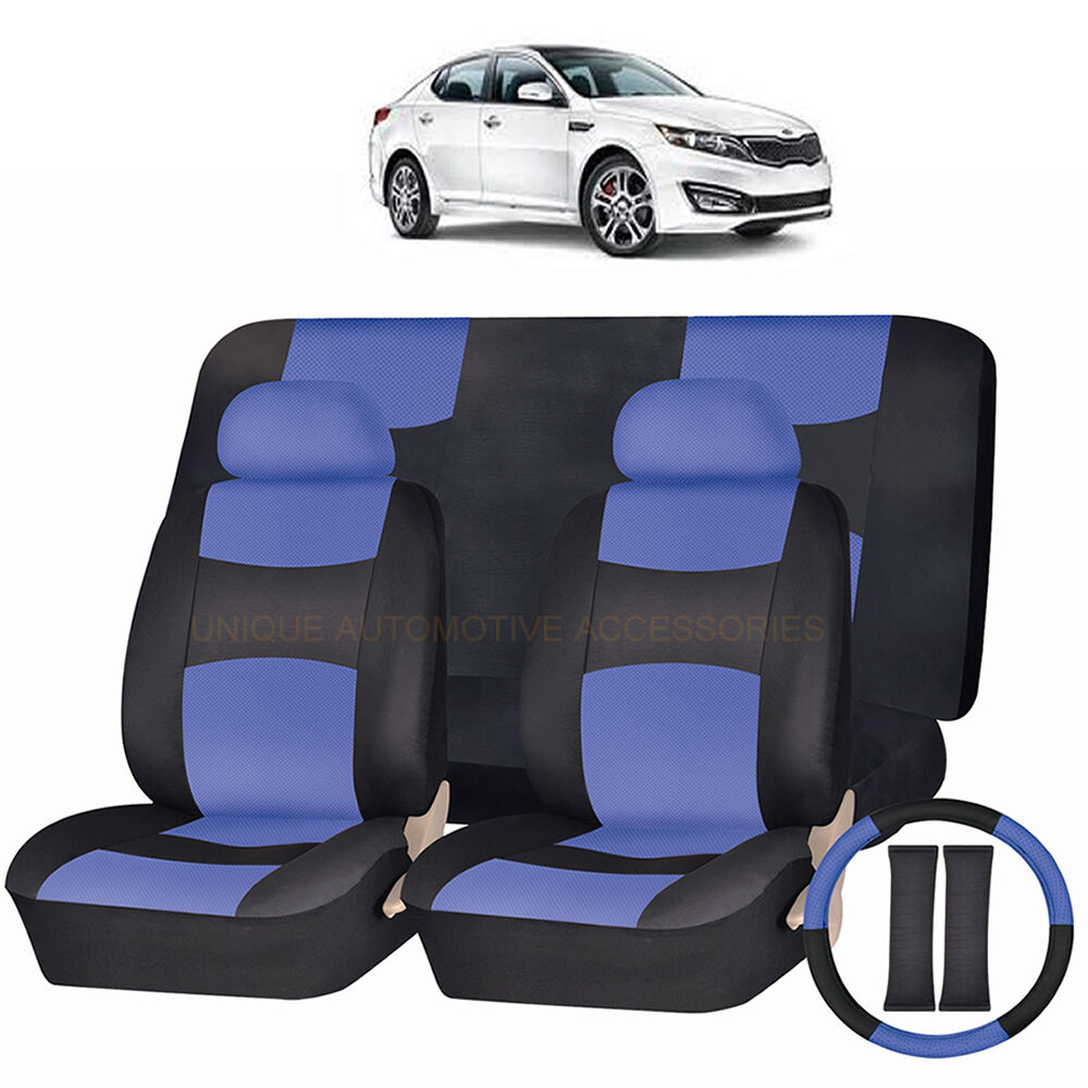 pu leather blue black seat covers 11pc set for kia optima borrego ebay. Black Bedroom Furniture Sets. Home Design Ideas
