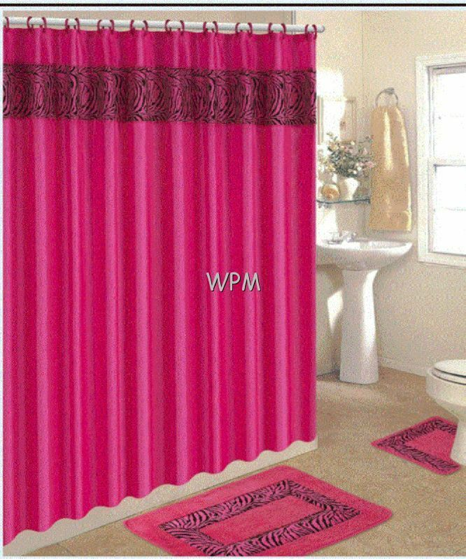15 Pc Bath Rug Set Animal Pink Zebra Print Bathroom Shower