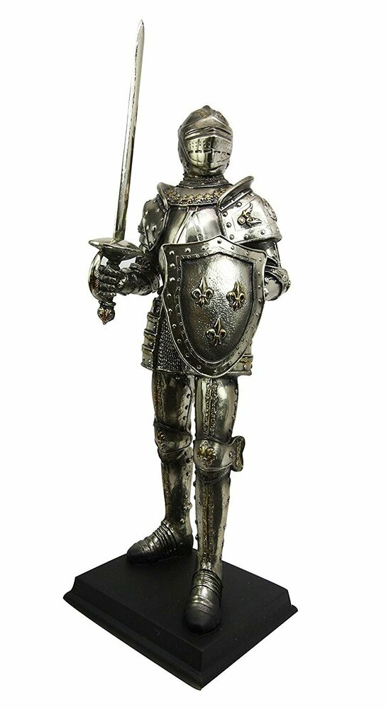 MEDIEVAL KNIGHT WITH ARMOR HELMET SWORD SHIELD FIGURINE ... |Knight Sword And Shield