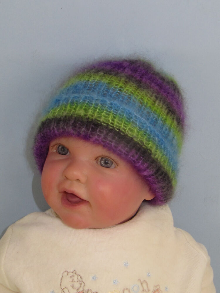 Ribbed Baby Beanie Knitting Pattern : PRINTED INSTRUCTIONS - BABY ANGEL PRINT MOHAIR RIB BEANIE HAT KNITTING PATTER...