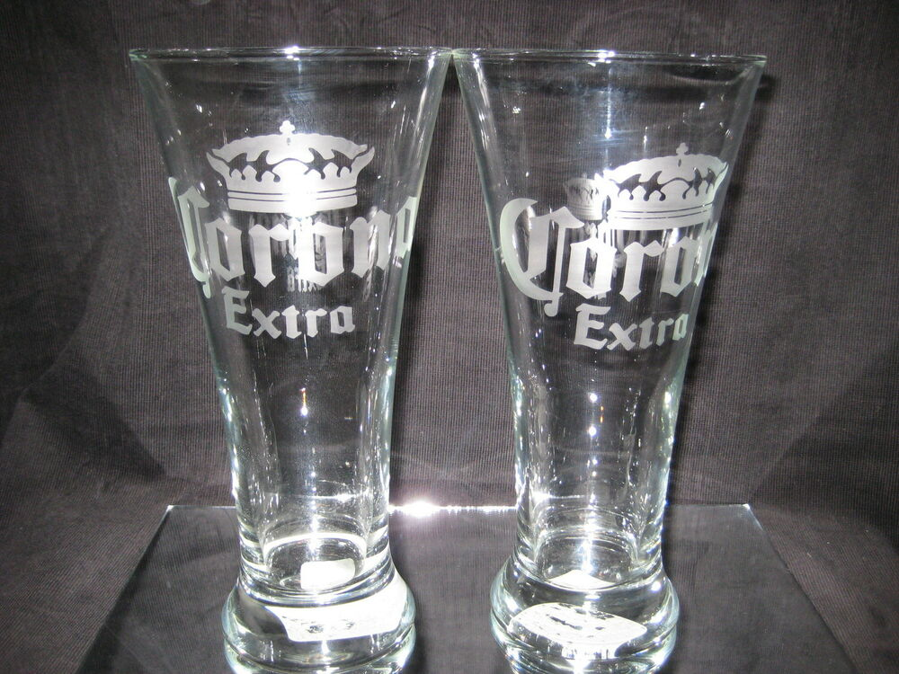 Corona beer 20 oz etched logo pilsner glasses 2 new ebay for How to make corona glasses