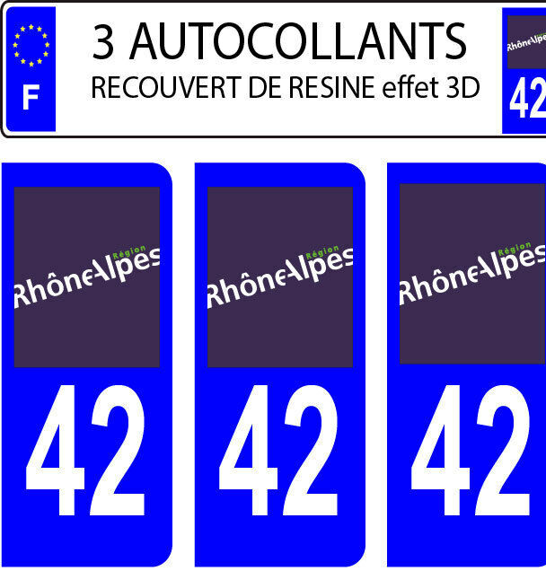 2 stickers plaque immatriculation auto DOMING 3D RESINE FRANCE FLOTANT DEPA 45