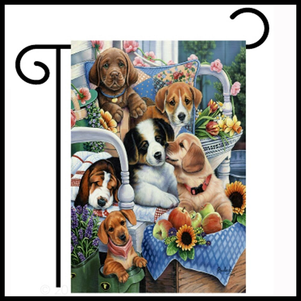 Country pups sublimation double sided garden home decor for Dog decorations for home
