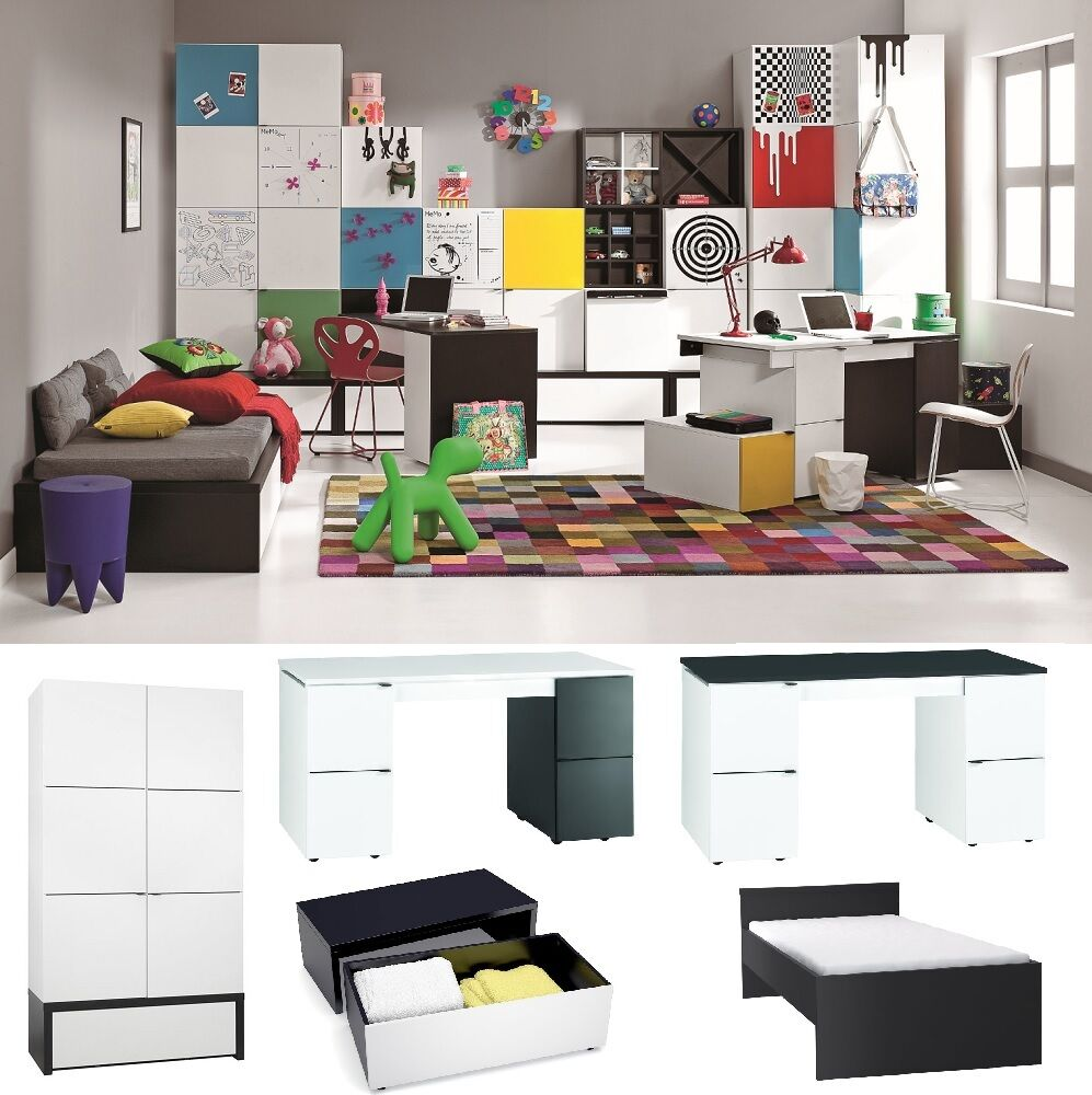 jugendzimmer kinderzimmer black white komplettset weiss schwarz schrank bett neu ebay. Black Bedroom Furniture Sets. Home Design Ideas