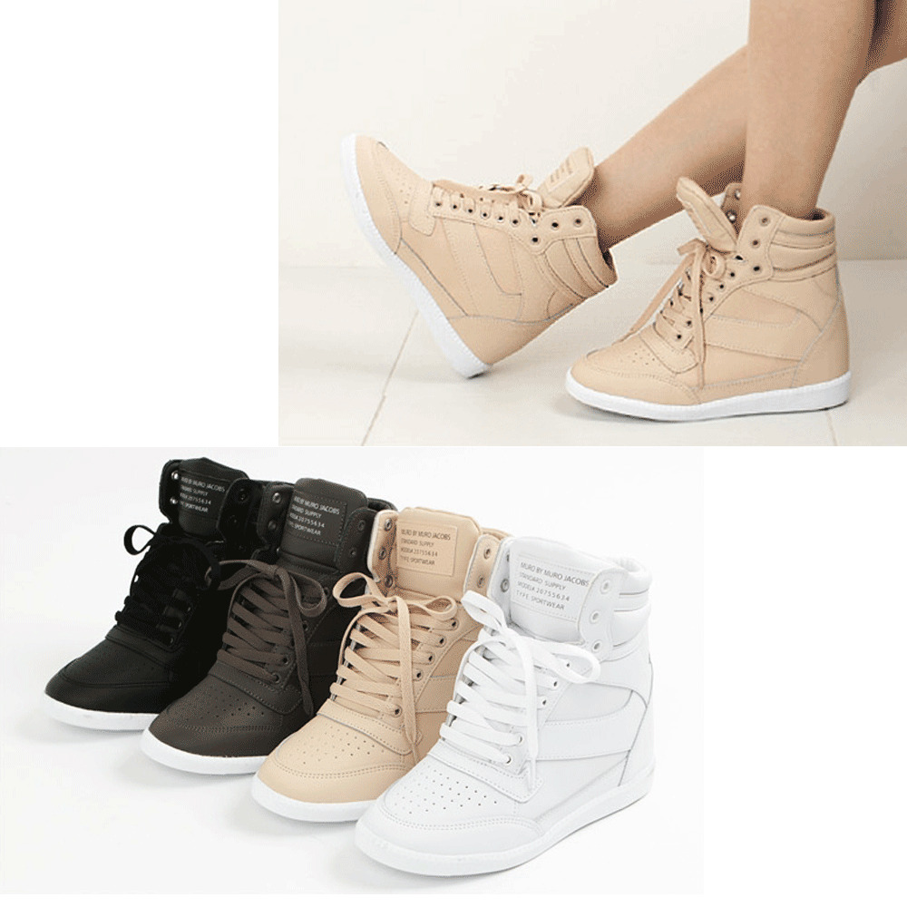 Epic7snob Womens Shoes Korea High Top Wedges Heel Lace Up ...