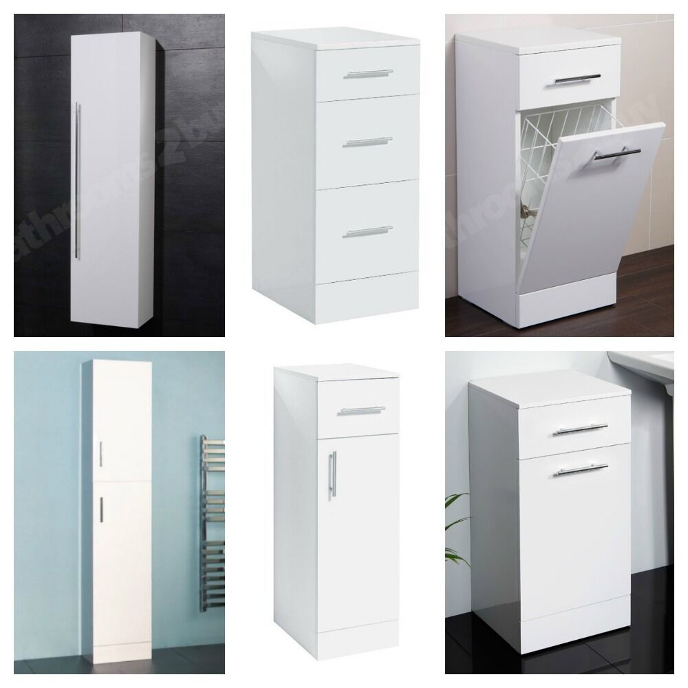 Choice Of Modern White Bathroom Storage Units Cabinets Cupboards Drawers Ebay