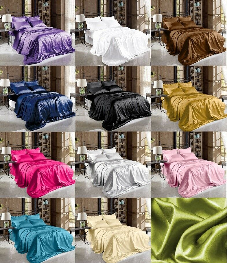 Soft Satin Pillowcase Fitted Flat Bed Sheet Set Solid