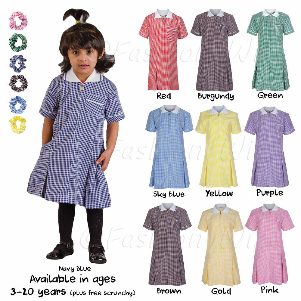 7d739ac36f71 Details about Ages 3-20 Girls School Gingham Summer Dress Pleated Blue Red  Green Purple Gold
