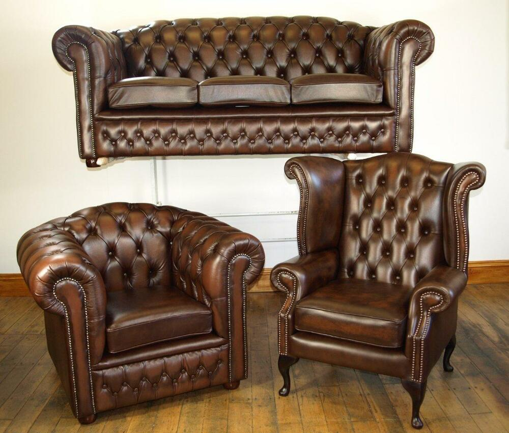 Chesterfield leather sofa suite chair brand new sale ebay for Leather sofas for sale