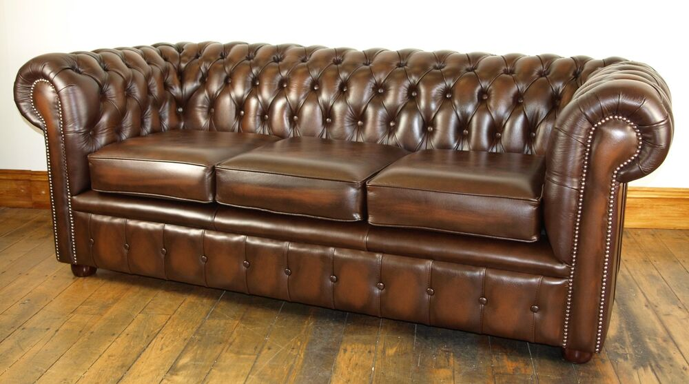vintage brown leather sofa chesterfield leather suite chair sofa b new antique brown 6782