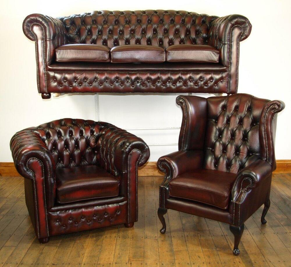 Chesterfield Leather Suite Brand New Oxblood Ebay