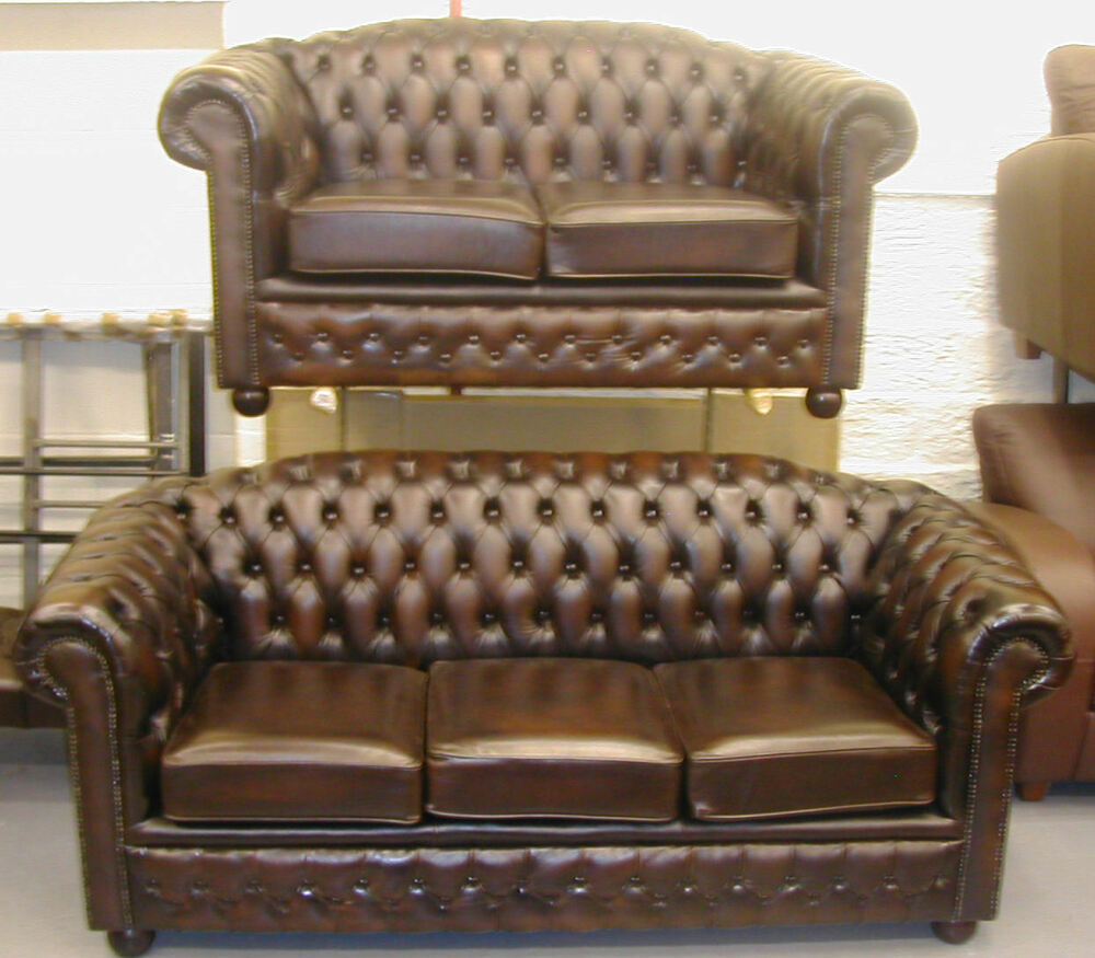Chesterfield Leather Sofa Suite Brand New Sale Ebay
