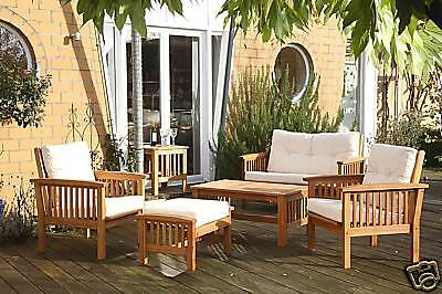 sitzgruppe gartenm bel akazie wintergarten diele lounge ebay. Black Bedroom Furniture Sets. Home Design Ideas