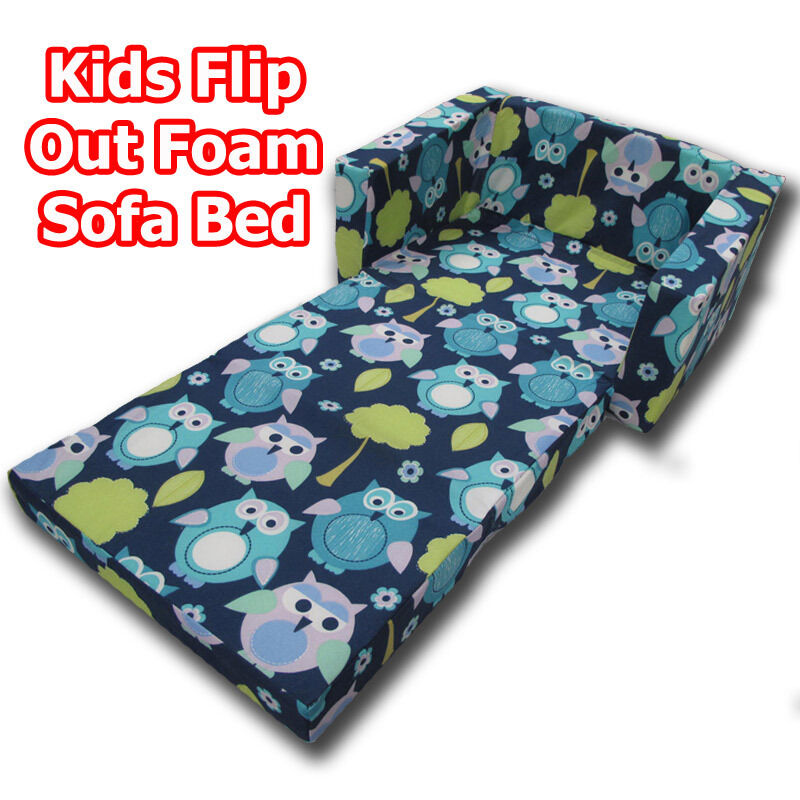 Owls blue kids children flip out sofa foam bed new ebay Toddler flip out sofa couch bed