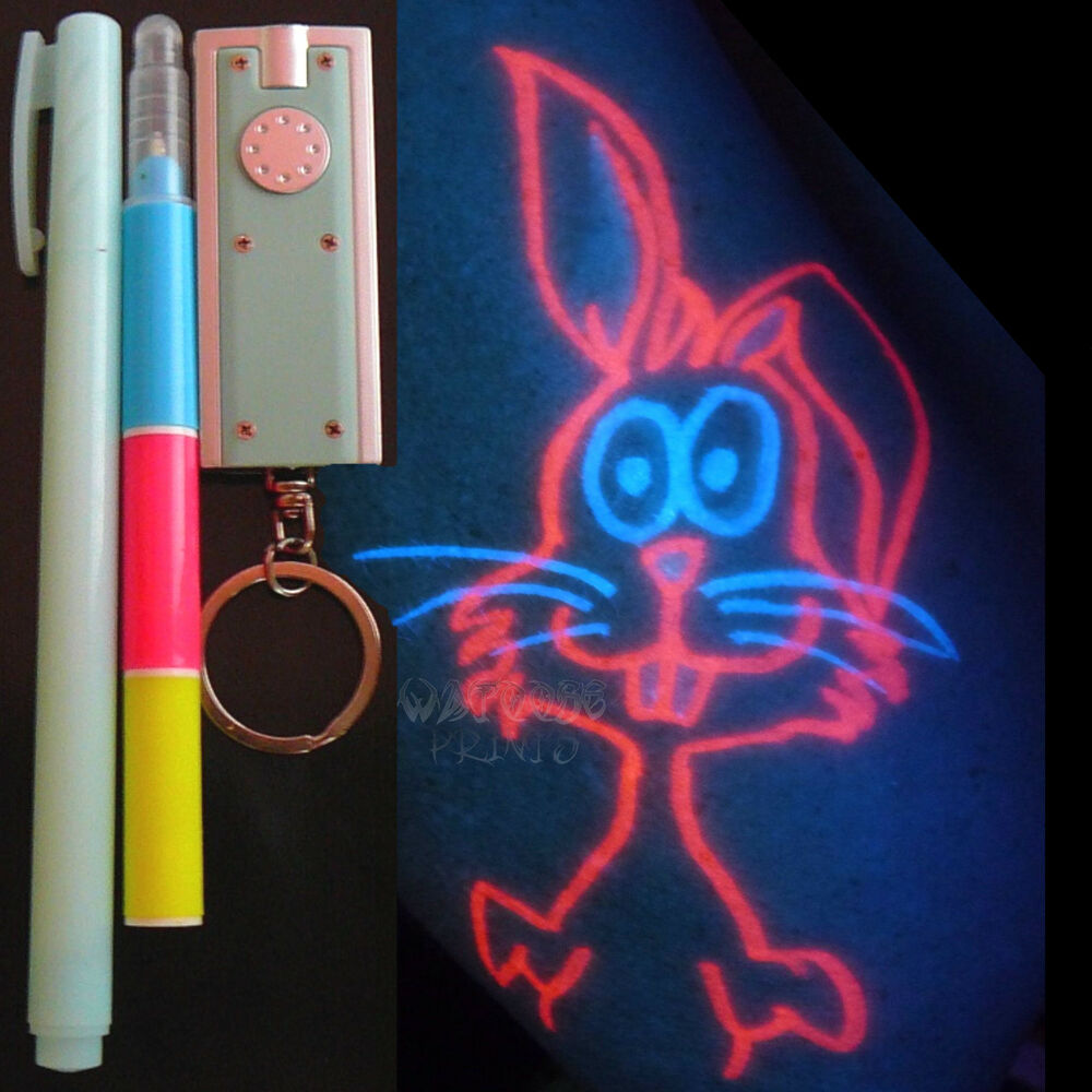 Invisible ink pens 2 uv black light led body art party for Ebay tattoo ink