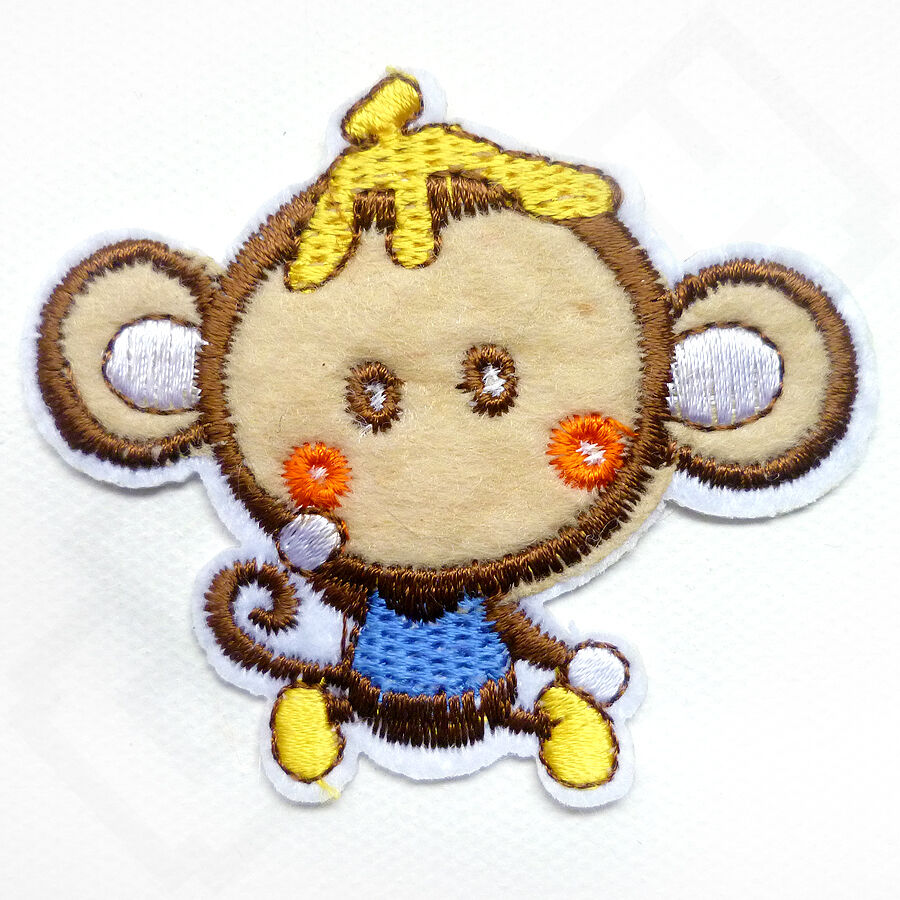 Funny cheeky monkey iron sew on embroidered patch tshirt