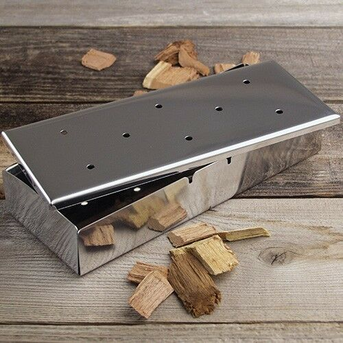 charcoal companion stainless steel gas grill smoker box meat smoker food smoker ebay. Black Bedroom Furniture Sets. Home Design Ideas