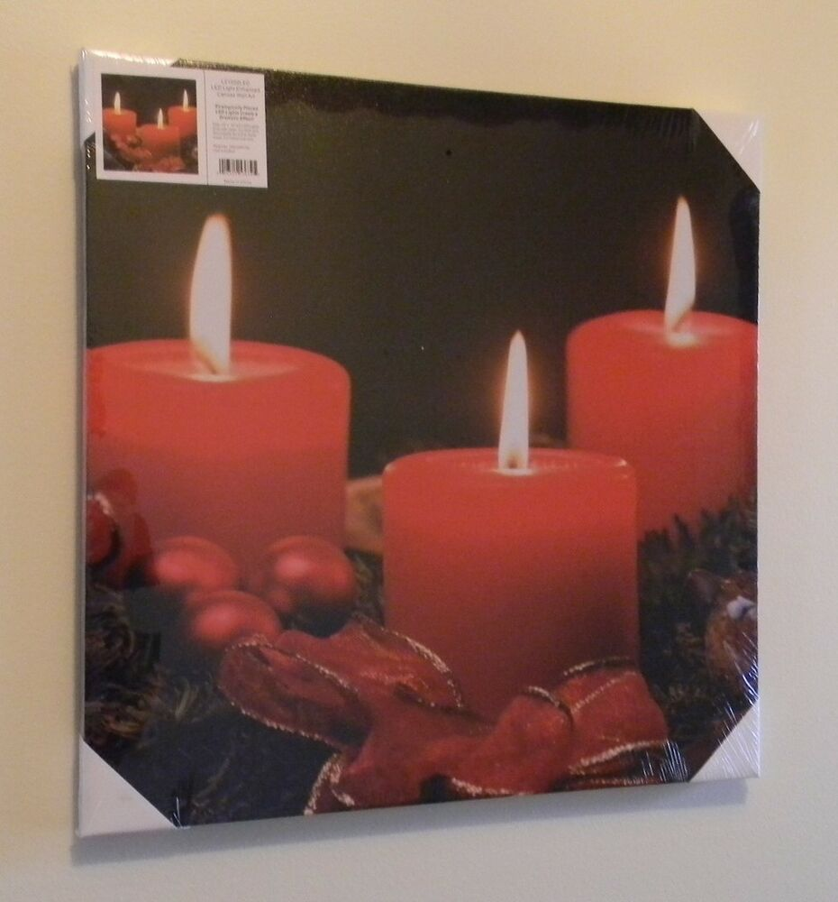 light lighted led canvas wall art painting picture red candles black lz1215 ebay. Black Bedroom Furniture Sets. Home Design Ideas