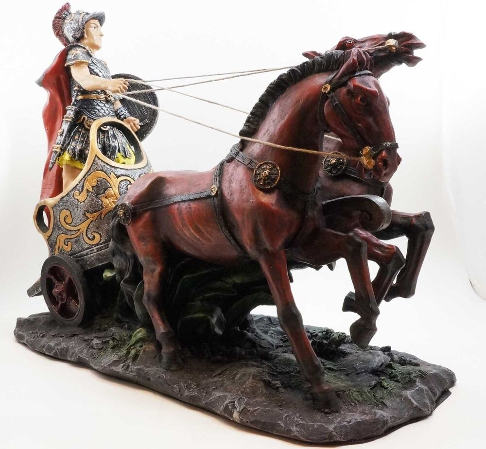 roman chariot two horses warrior general statue 14 long. Black Bedroom Furniture Sets. Home Design Ideas