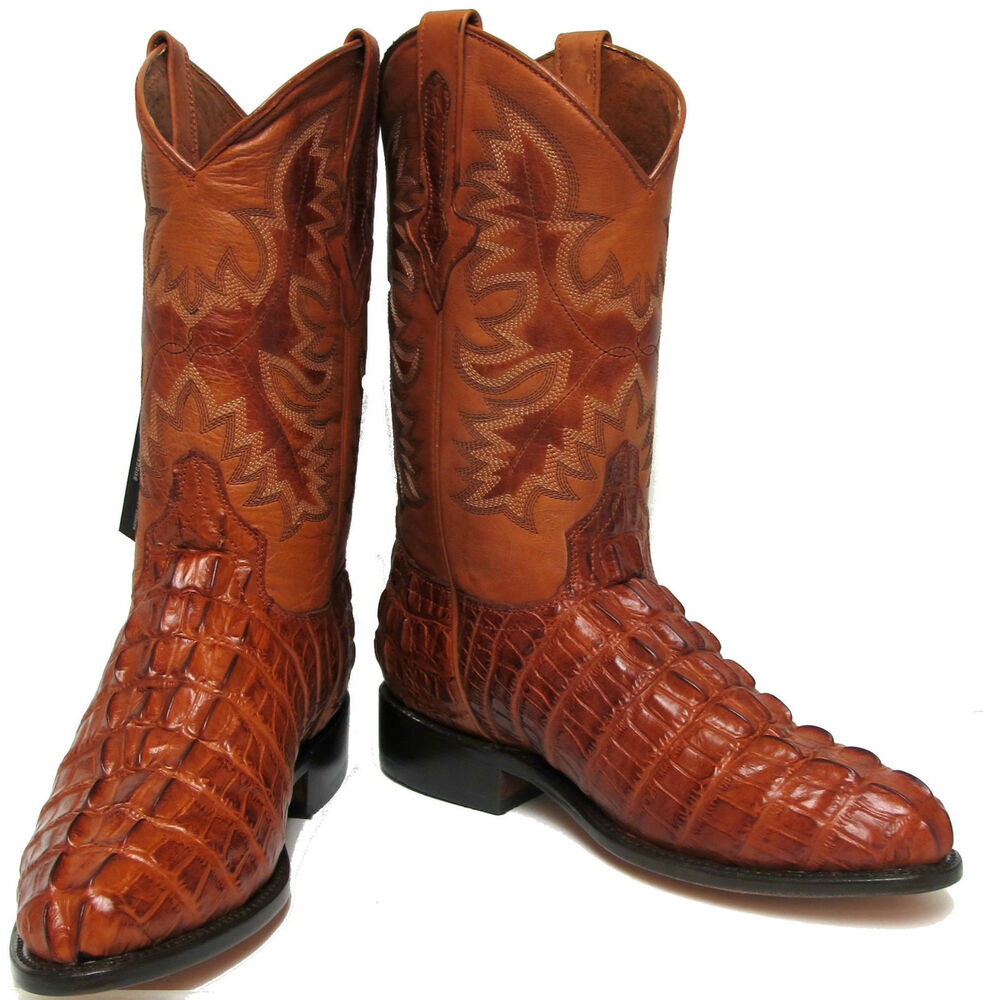 Mens Crocodile Alligator Tail Roper Leather Western