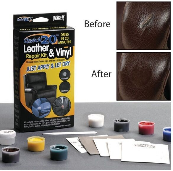 restore it quick no heat leather or vinyl repair kit repair leather furniture ebay. Black Bedroom Furniture Sets. Home Design Ideas
