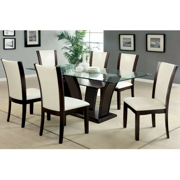 Glass Dining Table Set: Manhattan Dark Cherry Finish Glass Top Dining Table Set