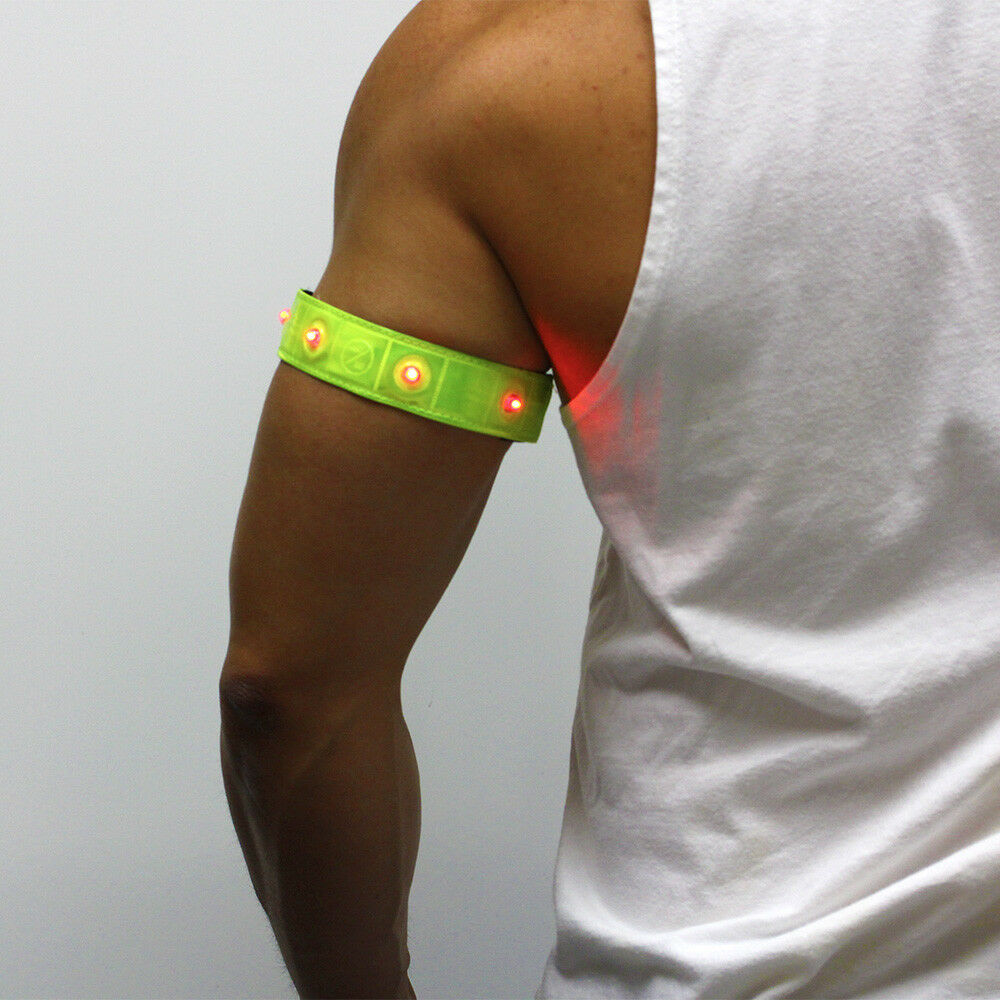 Two Roadside Safety Running Jogging Reflective Armbands W Blinking Led